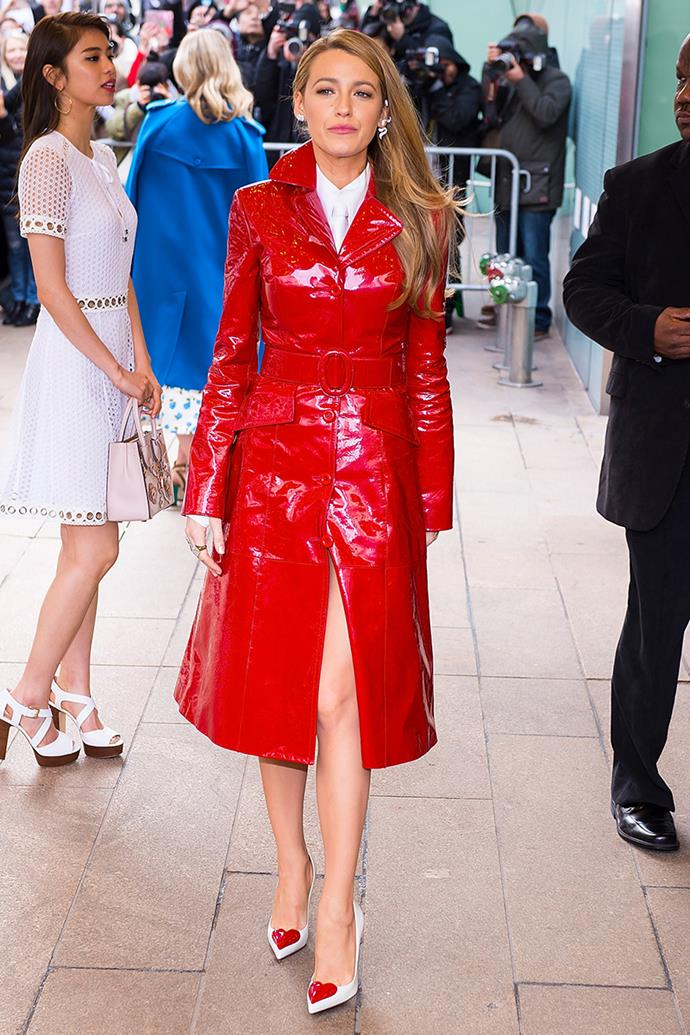 "Blake dispelled frosty NYC winter in a patent-leather [Michael Kors](https://www.elle.com.au/fashion/michael-kors-autumn-winter-2017-recap-8752|target=""_blank"") trench coat at the designer's show in February."