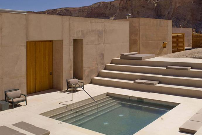 "**Utah, Colorado USA: Amangiri** <br><br> Kim Kardashian and husband, Kanye West, [escaped to the resort](https://www.travelandleisure.com/hotels-resorts/luxury-hotels/kanye-west-amangiri|target=""_blank""