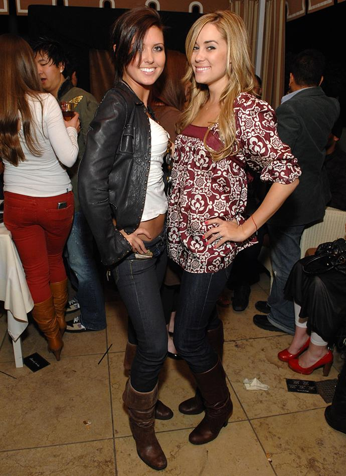 Lauren and Audrina making brown leather boots work with both of their distinct '00s aesthetics. The *TALENT*.