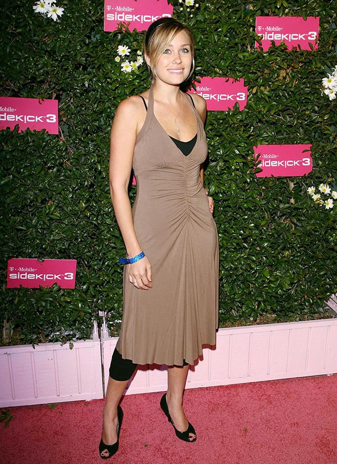 At one of many red carpet events in 2006, LC wowed (and confused) us with this indecipherable dress-over-activewear situation.