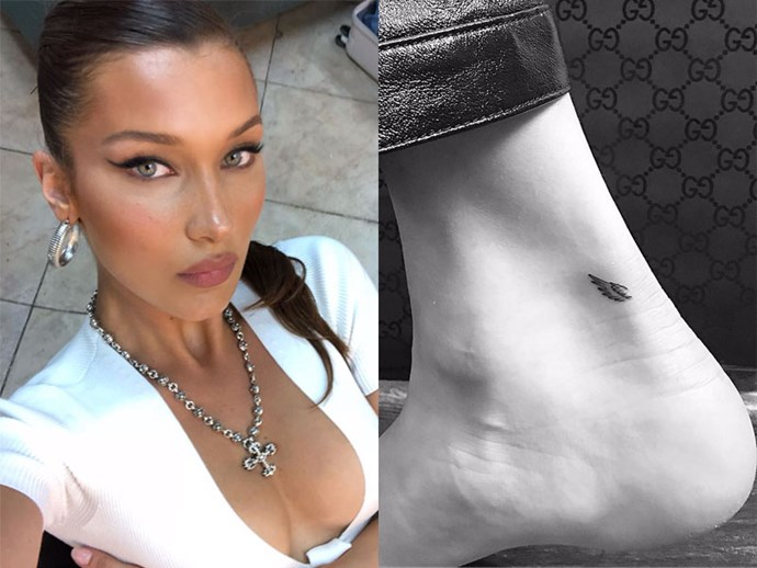 **BELLA HADID** <br><br> To commemorate her first-ever Victoria's Secret Fashion Show, Hadid tattooed a wing on each of her ankles.