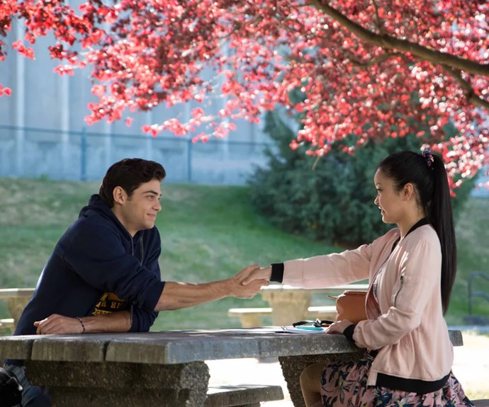 ***The whole reason they pretended to date***<br><Br> After being dumped by Gen for a college guy in the movie, Peter suggested the fake relationship to Lara Jean in an effort to win her back. If she sees him with LJ, she'll get jealous and want to get back together = boy logic. <Br><BR> However, in the book, Peter explains that he wants to do it so that Gen knows it's 100% over between them because he's sick of running around after her. (Faking an entire relationship instead of just telling her = also boy logic, by the way.)