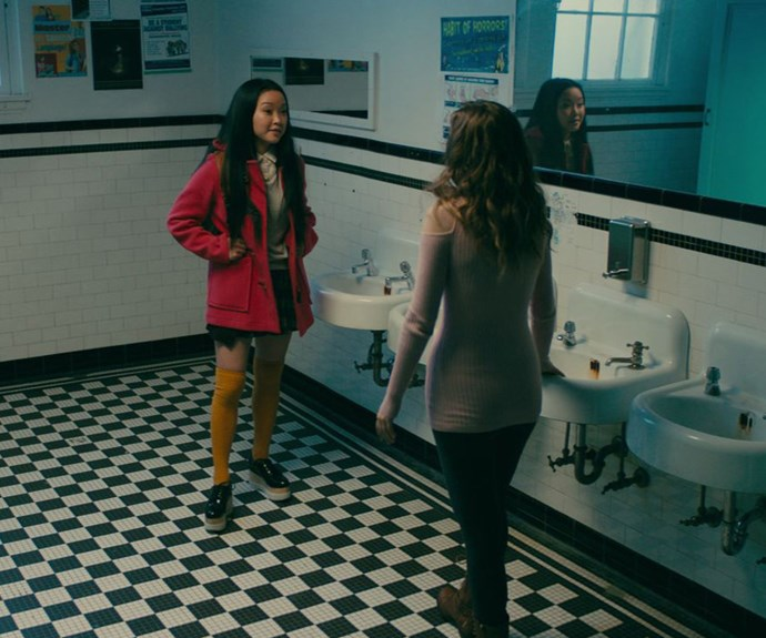 ***The hot tub video***<br><br> When Peter and Lara Jean's steamy hot tub video goes viral after the ski trip, the movie uses it as a good opportunity to bridge things between Lara Jean and her sister, Margot. Margot sees how distressed she is over it and reports it to get it taken down—which it does. Peter, meanwhile, gets a bit of a bad rap because it seems like he saw it and didn't care too much—he ends up denouncing it mid-hallway.<br><BR> But in the book, Peter is a lot more involved. He's actually pretty upset about it when it gets leaked, and he's the one who reports it to get it removed—even lying and saying his uncle's a lawyer to get it over the line. *And* he also gets up in front of the whole school to defend LJ. Now that's a protective boyf. Cute.<br><BR> And despite the fact that Lara Jean pulls a baller move and confronts Gen about it in the movie, she never brings it up with her in the book.