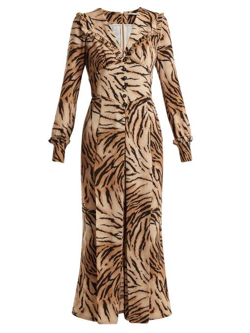 "Dress by Alessandra Rich, $1,559 at [MATCHESFASHION.COM](https://www.matchesfashion.com/products/Alessandra-Rich-Tiger-print-V-neck-dress-1202758|target=""_blank""