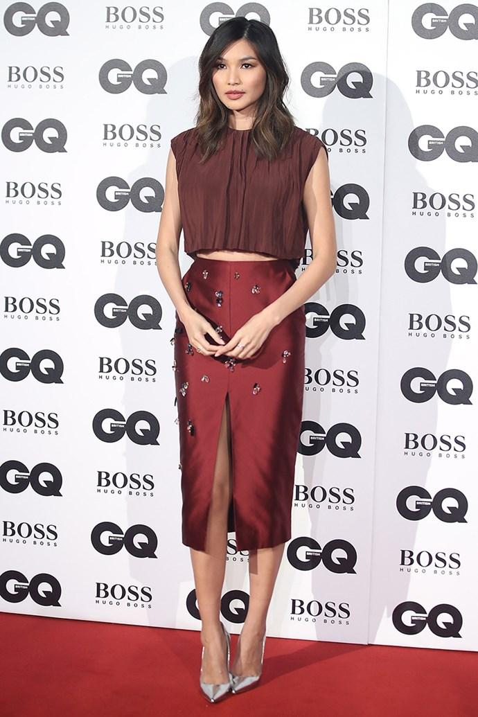 Gemma Chan wearing Jason Wu coordinates.