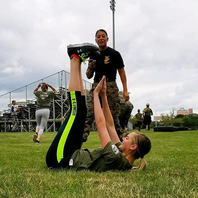 """<strong>On her workout: </strong><br><br> """"We do extreme, intense circuit training. We do three or four circuits and change them up a lot. There's lots of core, butt, and thigh shaping and toning. We work with resistance bands, stability balls, do lateral lunges for the inner thighs, and for arms we do boxing. She has her own pair of boxing gloves, and she will beat me up. She loves it! It's a very efficient way to work out and get your cardio in."""" Kate Upton shows off her toned limbs at a celebrity softball game in Arizona."""