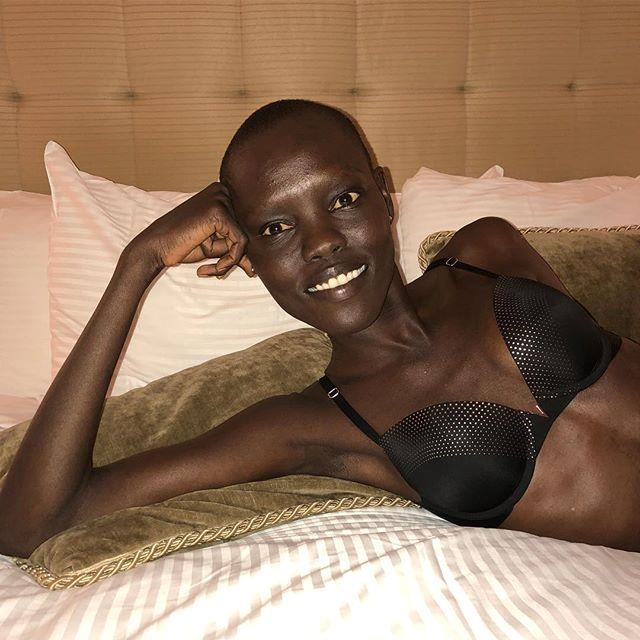"**Grace Bol** <br><br> The model marked her return to the VS fashion show by snapping herself in one of the brand's famed bras, naturally. <br><br> [@gracebol](https://www.instagram.com/gracebol/|target=""_blank""