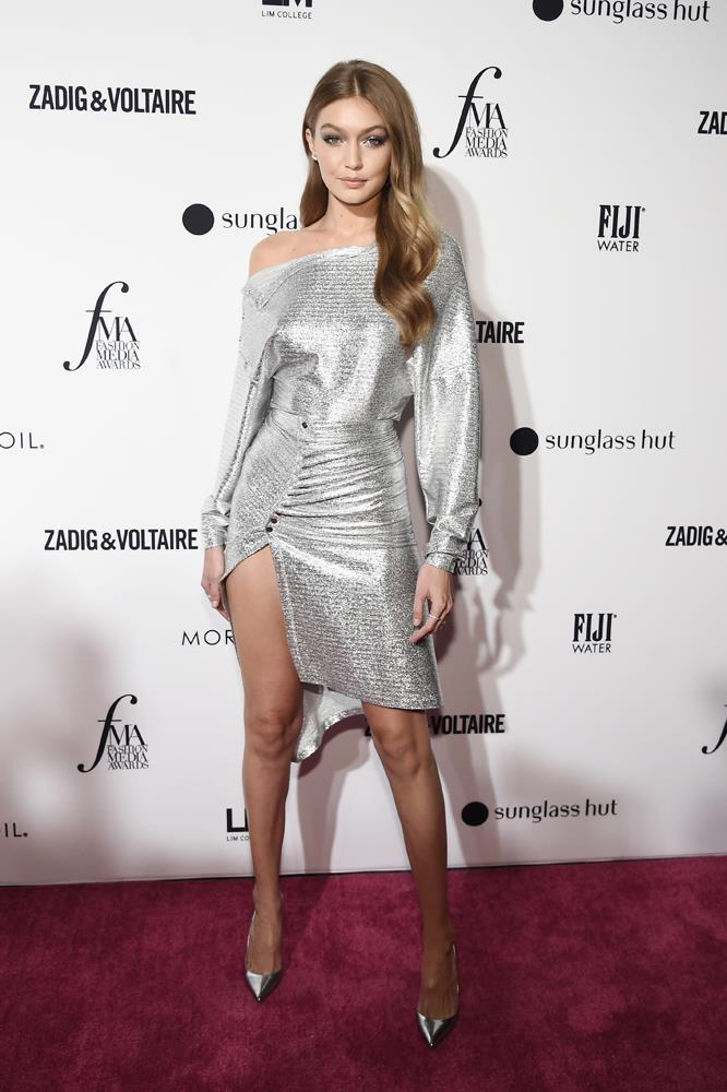 Gigi Hadid in a Paco Rabanne dress, September 6th, 2018.