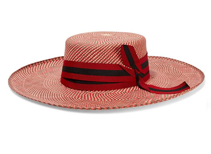 """From Ascot to Flemington, the race-ready boater hat has become a chic alternative for fashion girls with fascinator fatigue. Give the trend a 2018 revise with this royal red ribboned straw hat. Wear with neutrals for maximum impact.  <br><br> Sensi Studio hat, $220.98 at [Net-a-Porter](https://www.net-a-porter.com/au/en/product/1064867/Sensi_Studio/grosgrain-trimmed-toquilla-straw-hat