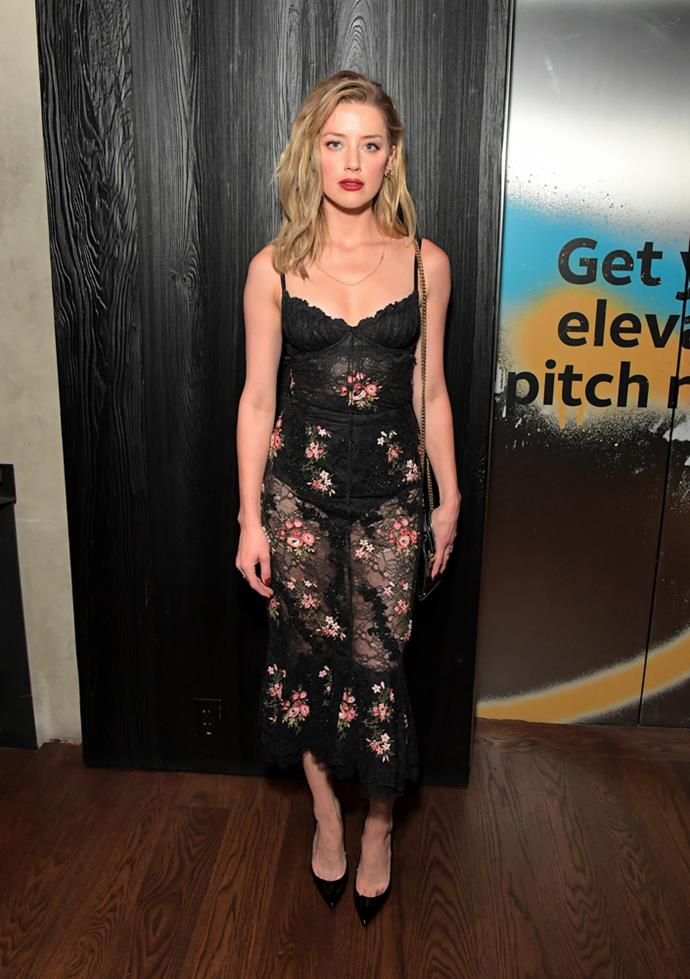 Amber Heard in Brock Collection.