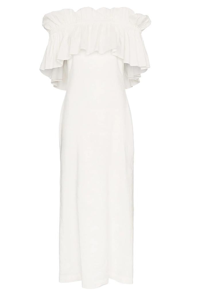 "Dress by Rejina Pyo, $1,198 at [Farfetch](https://www.farfetch.com/au/shopping/women/rejina-pyo-white-off-shoulder-ruffle-maxi-dress-item-13019053.aspx?storeid=9359|target=""_blank""|rel=""nofollow"")"