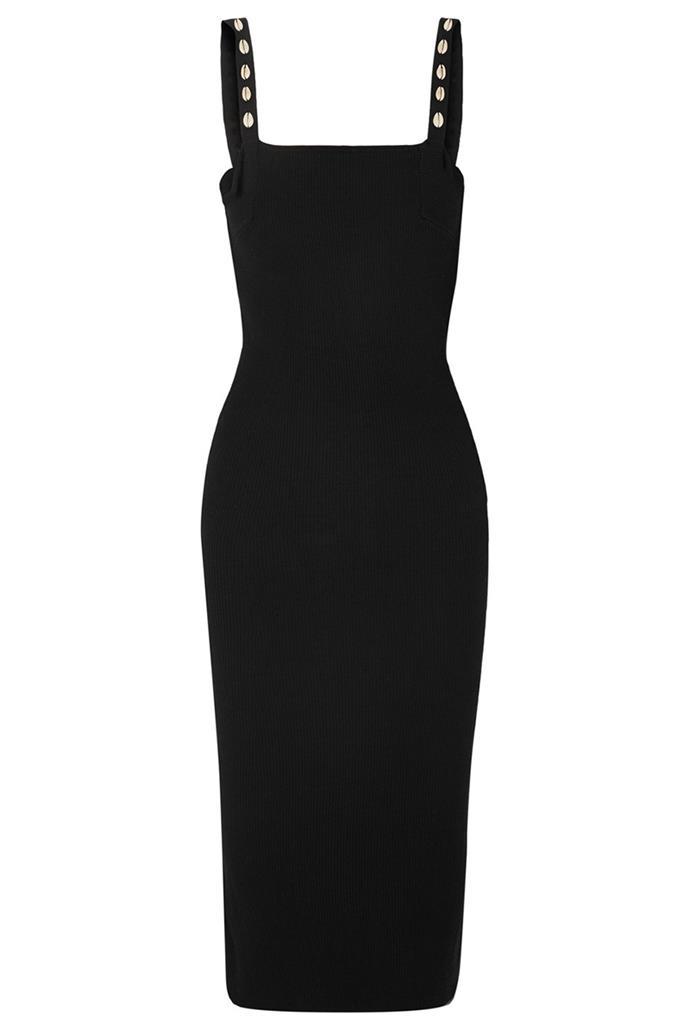 "Dress by Staud, $302 at [Net-A-Porter](https://www.net-a-porter.com/au/en/product/1058347/STAUD/rio-shell-embellished-ribbed-cotton-midi-dress|target=""_blank""