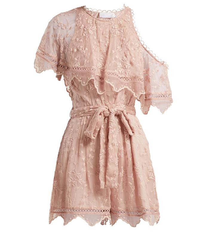 "Playsuit by Zimmermann, $550 at [MATCHESFASHION.COM](https://www.matchesfashion.com/au/products/Zimmermann-Castile-embroidered-silk-chiffon-playsuit-1218320|target=""_blank""
