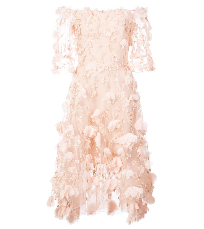 "Dress by Marchesa Notte, $1,564 at [Farfetch](https://www.farfetch.com/au/shopping/women/marchesa-notte-3d-applique-flower-dress-item-12581148.aspx|target=""_blank""