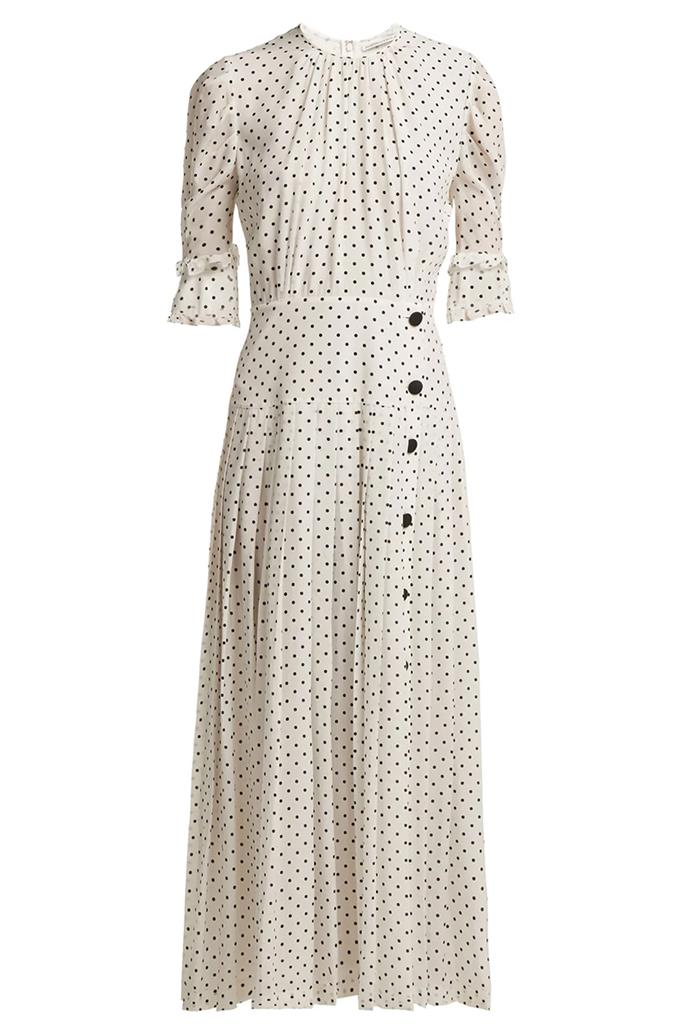 "Dress by Alessandra Rich, $2,999 at [MATCHESFASHION.COM](https://www.matchesfashion.com/au/products/Alessandra-Rich-Polka-dot-print-pleated-silk-dress-1243302|target=""_blank""