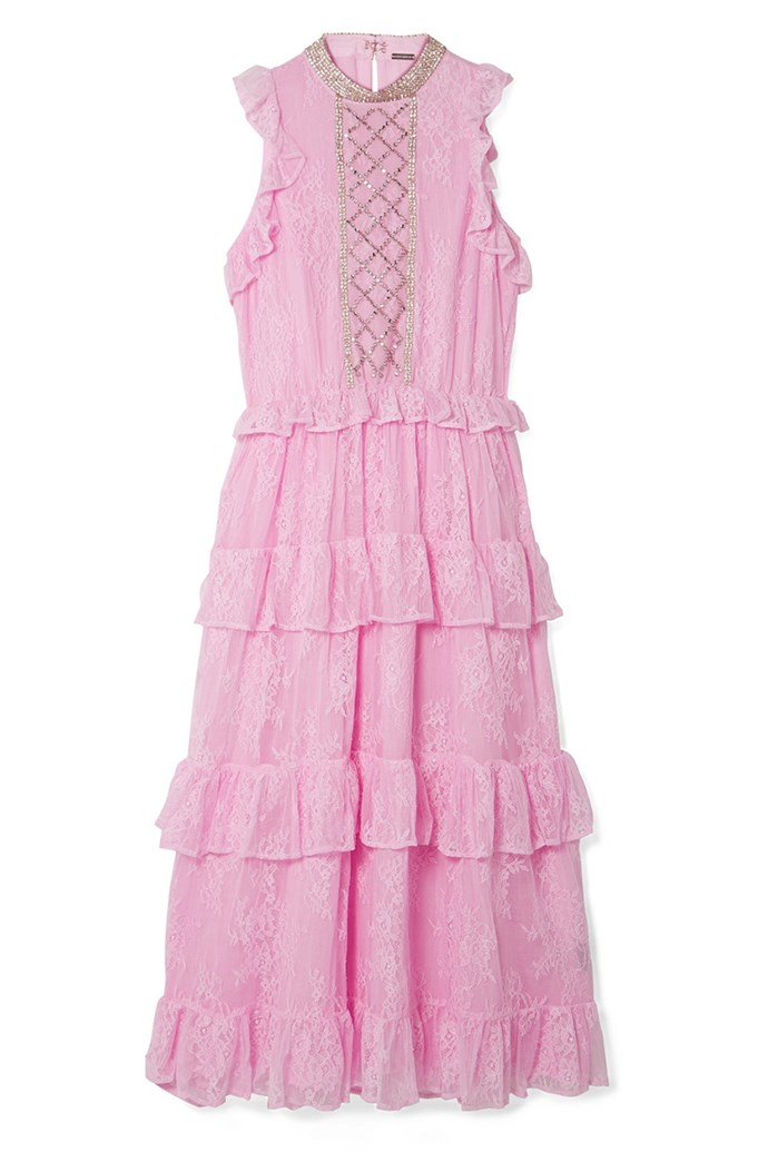 "Dress by Dodo Bar Or, $1,269 at [Net-A-Porter](https://www.net-a-porter.com/au/en/product/1047456/Dodo_Bar_Or/ruffled-crystal-embellished-lace-midi-dress|target=""_blank""