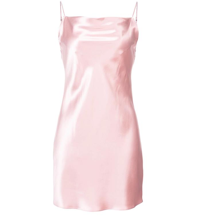 "Dress by Fleur Du Mal, $794 at [Farfetch](https://www.farfetch.com/au/shopping/women/fleur-du-mal-cowl-neck-slip-dress-item-12778258.aspx|target=""_blank""