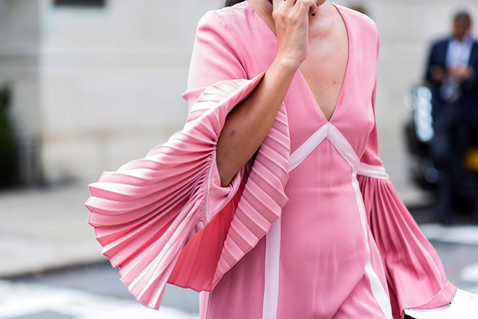 **Pleated Pastels** <br><br> Give your sorbet shades an elegant edge with soft pleating. It will add ladylike interest to your Kennedy Oaks Day wardrobe.
