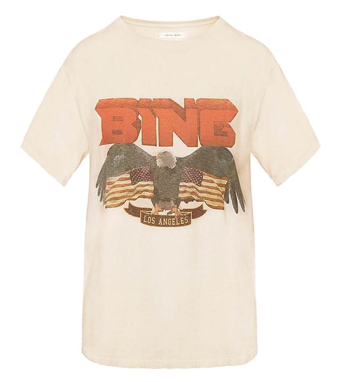 "Tee by Anine Bing, $99 at [Shopbop](https://www.shopbop.com/vintage-bing-anine/vp/v=1/1524129060.htm|target=""_blank""|rel=""nofollow"")"