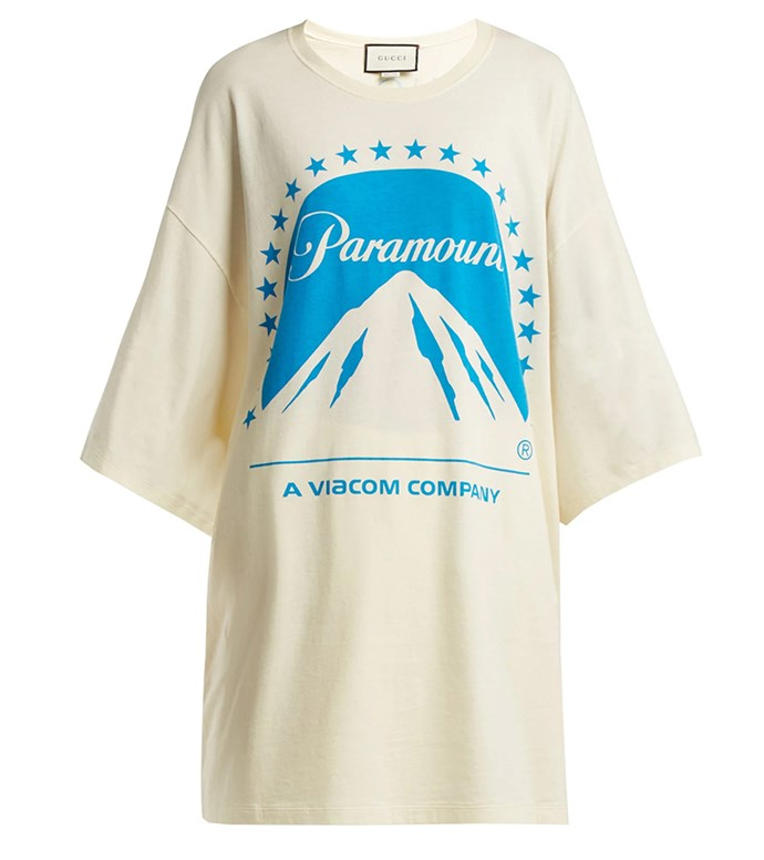 "Tee by Gucci, $725 at [MATCHESFASHION.COM](https://www.matchesfashion.com/au/products/Gucci-Paramount-oversized-cotton-T-shirt-1232840|target=""_blank""