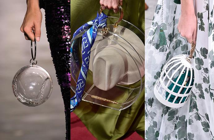***Let It All Hang Out***<br><br> This new accessories trend isn't for the shy among us. Perspex minaudières, see-through cage bags and single-item (think akubras and bottles of rosé) storage are all sending us the same message: it's time to let it all hang out.<br><br> Seen at: Fashion Palette, Brandon Maxwell, Oscar de la Renta.
