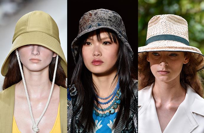 ***No Hat, No Play***<br><bR> In the beauty world, sun-protection is at an all-time high with SPFs being diligently folded into a myriad of products. Now it seems fashion is following suit. The runways were swamped with models adhering to 'No Hat, No Play' laws, in straw hats, fabric buckets and drawstring sou'westers.<br><bR> Seen at: 3.1 Phillip Lim, Anna Sui, Tory Burch.