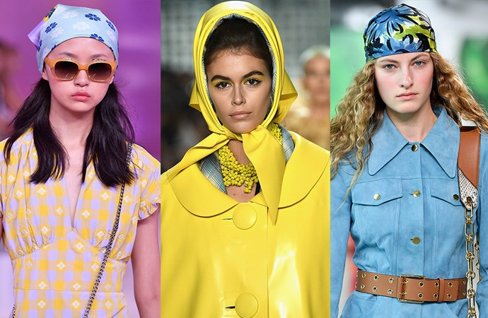 "***Scarf Scenes***<br><br> You know, we don't want to say 'we told you so'… but we will. Our [prediction](https://www.elle.com.au/fashion/headscarf-trend-2018-18196|target=""_blank"") that silk head scarves—worn either tied underneath the chin or at the back of the head—rang true at NYFW.<br><br> Seen at: Kate Spade, Marc Jacobs, Michael Kors."