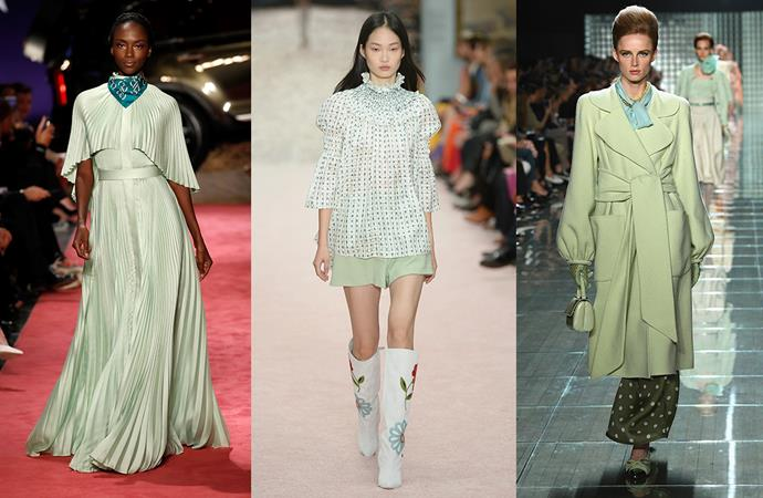 ***Jaded***<br><br> Last season saw us dip into deep khaki greens in the form of boilersuits and cargo pants, as well as emeralds for our blouses and silk dresses—but NYFW is encouraging us to take it up a few shades. Pale green—veering between jade and sage—has been hitting the runways in everything from gowns to trenches. <br><br> Seen at: Brandon Maxwell, Carolina Herrera, Marc Jacobs.