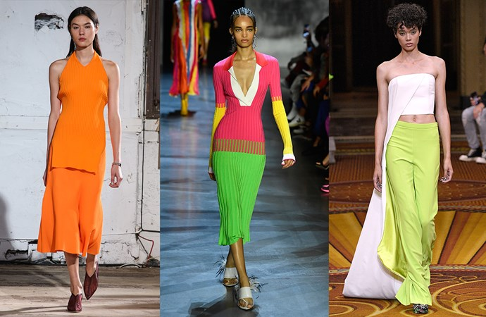 "***Neon Bright***<br><br> It started with [bikinis](https://www.elle.com.au/fashion/neon-bikini-18468|target=""_blank""), but the neon trend is far from beach-bound. Runways presented pantsuits, dresses, separates and accessories in shades of neon yellow, orange and green. <br><br> Seen at: Tibi, Prabal Gurung, Christian Siriano."