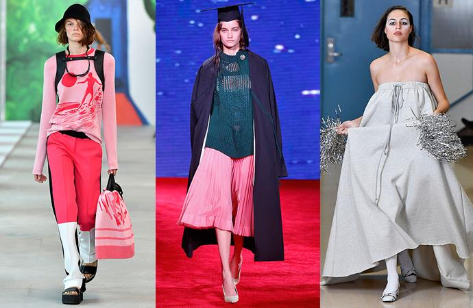 ***Back To School***<br><br> Sweatpant-dresses with silver pom-poms, pleated skirts worn with mortar boards and graduation gowns, backpacks added to co-ords… is it time to go back to school? Michael Kors and Calvin Klein say yes. <br><br> Seen at: Michael Kors, Calvin Klein, Vaquera.