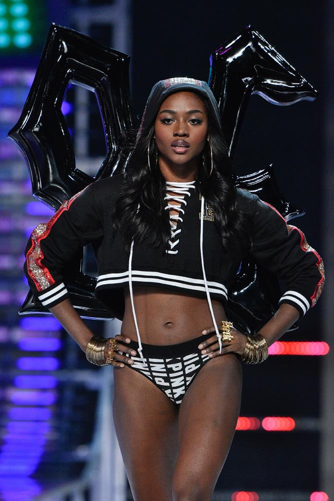 "***Zuri Tibby*** <Br><br> Third time's a charm for Zuri! ""I can't believe I will be walking the #vsfs for a THIRD time this year! Since I started modeling this was always my goal!"""