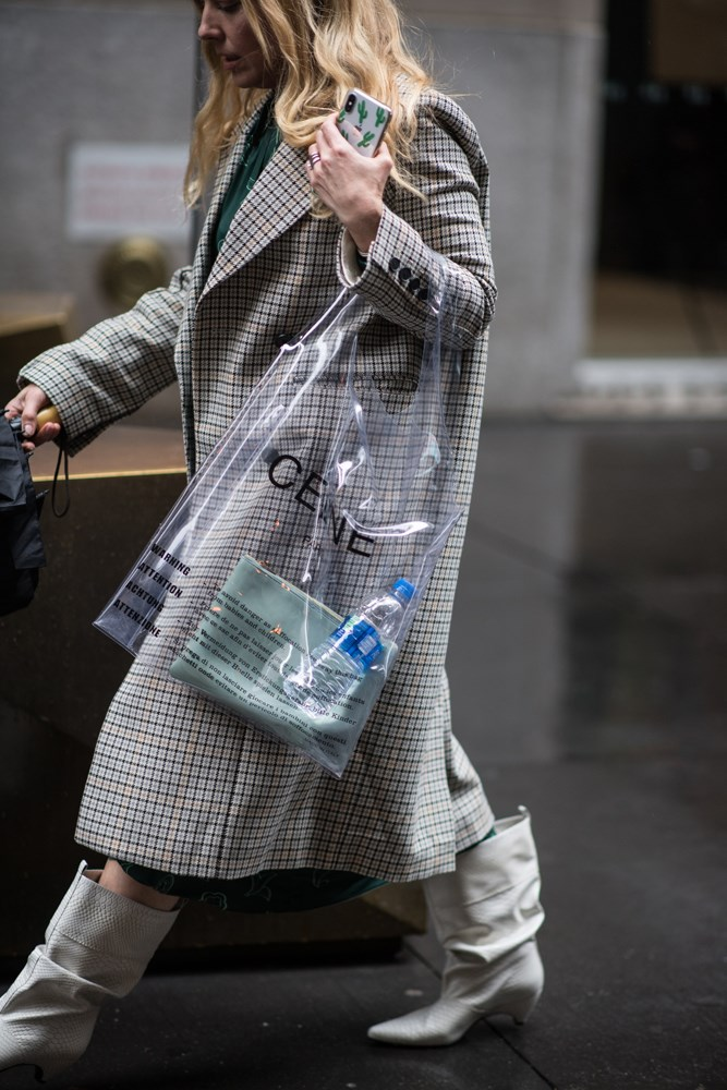 "***Clear bags***<br><br> One trend we saw on both the [runways](https://www.elle.com.au/fashion/nyfw-trends-18561|target=""_blank"") and on the streets were clear bags. Whether it was Celine-with-the-É's $750 plastic shopper or Staud's cult-favourite Shirley, fashion girls were happy to let it all hang out."