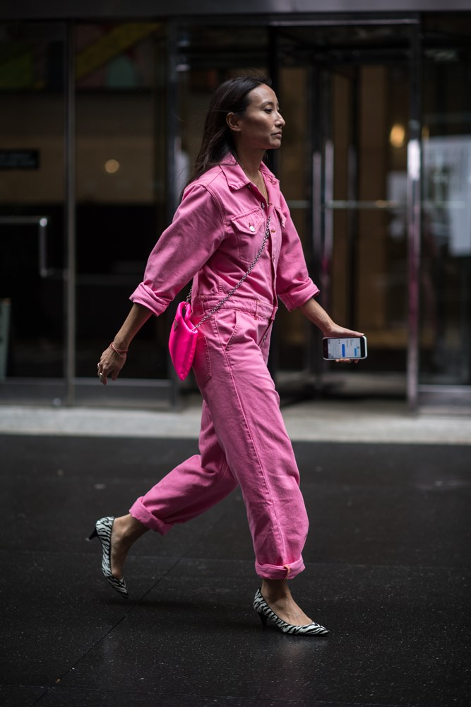 ***Pink boilersuits***<br><br> At this point boilersuits are a street-style given, and no wonder: they're comfortable, easy to wear and easy to style. But we were surprised to see the set move away from utilitarian greens and beiges into various shades of pink. Lead by Gigi Hadid, the typically-masculine boilersuit is given a feminine edge in lush shades of mauve, bubblegum and rose.