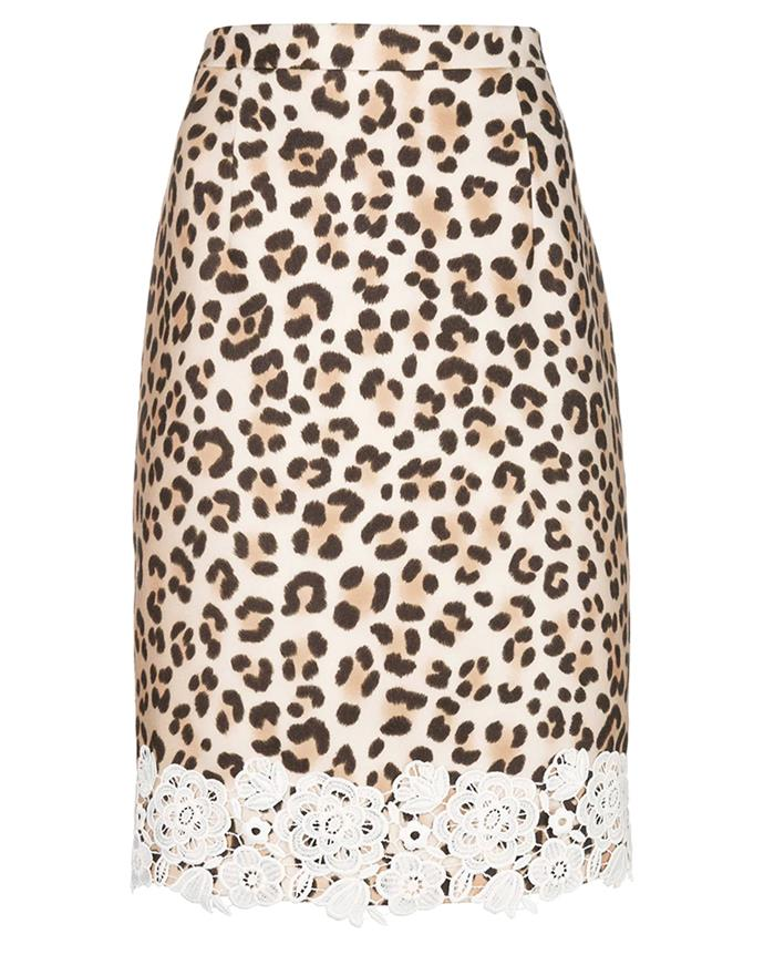 "Skirt by Blumarine, $905 at [Farfetch](https://www.farfetch.com/au/shopping/women/blumarine-leopard-print-pencil-skirt-item-13129558.aspx|target=""_blank""|rel=""nofollow"")"