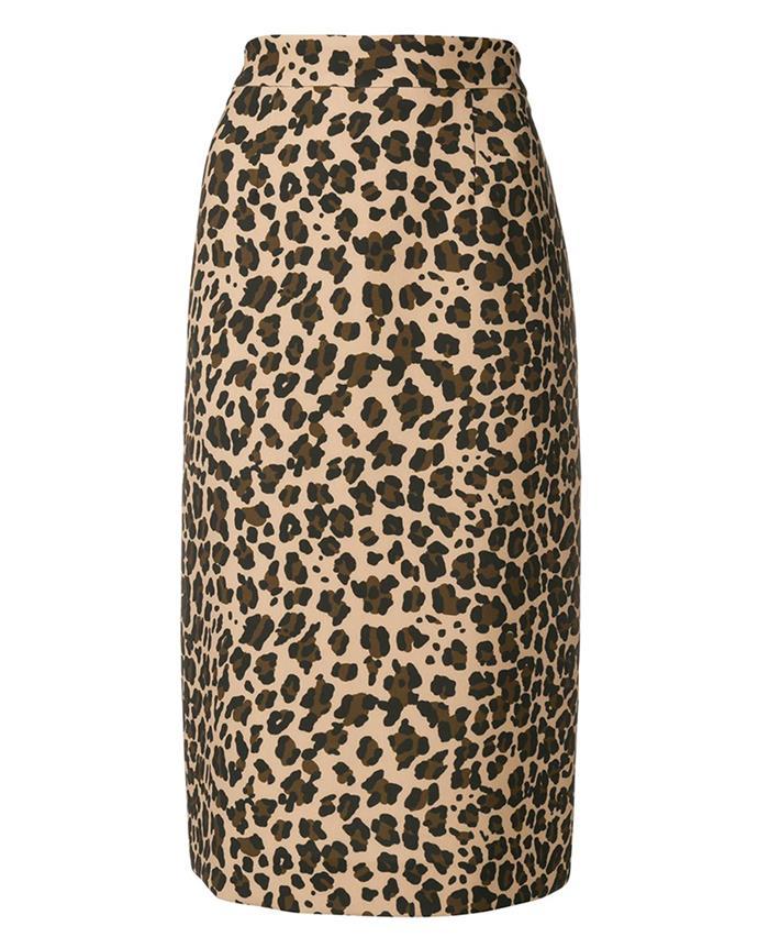 "Skirt by P.A.R.O.S.H, $286 at [Farfetch](https://www.farfetch.com/au/shopping/women/parosh-leopard-print-midi-skirt-item-13059384.aspx|target=""_blank""|rel=""nofollow"")"