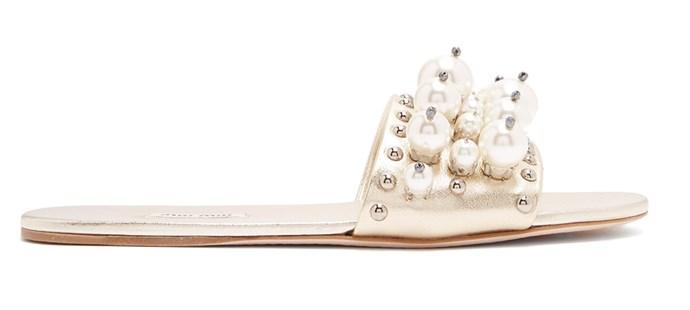 "**For The: Boho Bride** <br><br>  Slides by Miu Miu, $1,350 at [MATCHESFASHION.COM](https://www.matchesfashion.com/au/products/Miu-Miu-Faux-pearl-embellished-leather-slides-1217560|target=""_blank""
