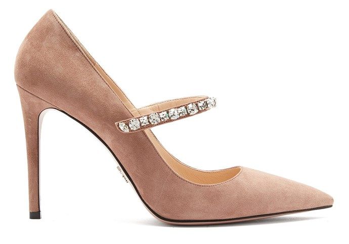 "**For The: Glamorous Bride** <br><br>  Pumps by Prada, $1,400 at [MATCHESFASHION.COM](https://www.matchesfashion.com/au/products/Prada-Crystal-embellished-suede-pumps-1214794|target=""_blank""