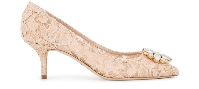"**For The: Romantic Bride** <br><br>  Pumps by Dolce & Gabbana, $1,150 at [Farfetch](https://www.farfetch.com/au/shopping/women/dolce-gabbana-pink-bellucci-crystal-70-lace-pumps-item-12118527.aspx|target=""_blank""
