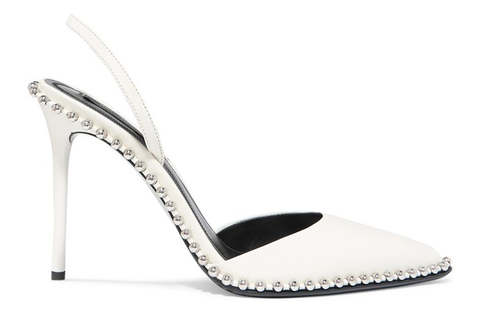 "**For The: Tomboy Bride** <br><br>  Heels by Alexander Wang, $862 at [Net-A-Porter](https://www.net-a-porter.com/au/en/product/1059469/alexander_wang/rina-studded-leather-slingback-pumps|target=""_blank""