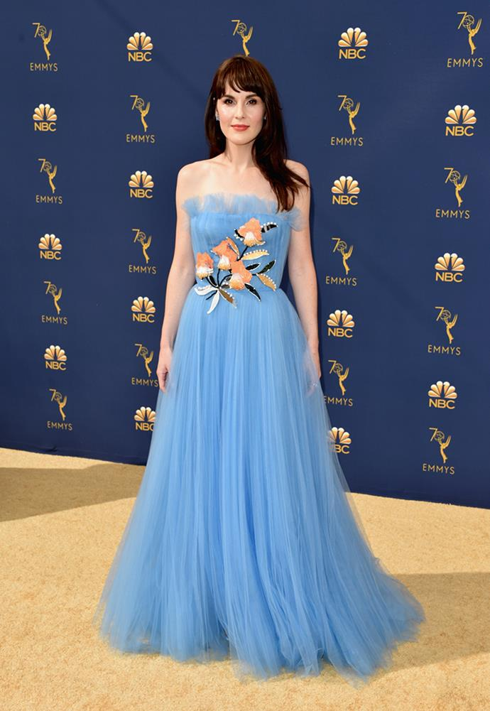 Michelle Dockery in Carolina Herrera.