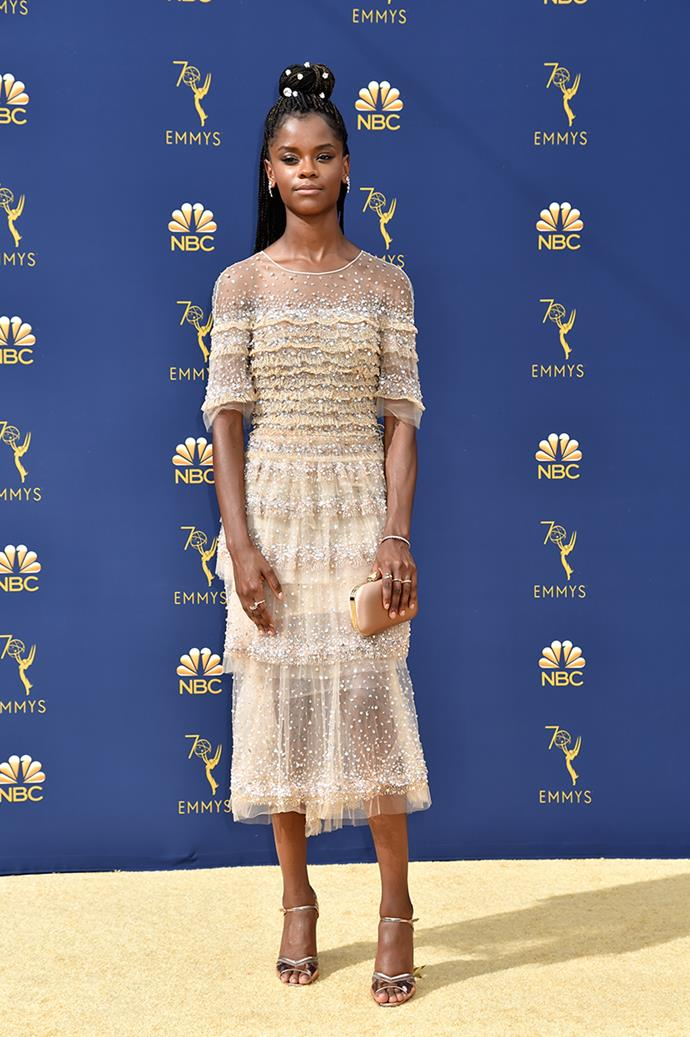 Letitia Wright in Pamella Roland.
