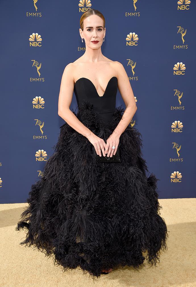 Sarah Paulson in Oscar de la Renta.
