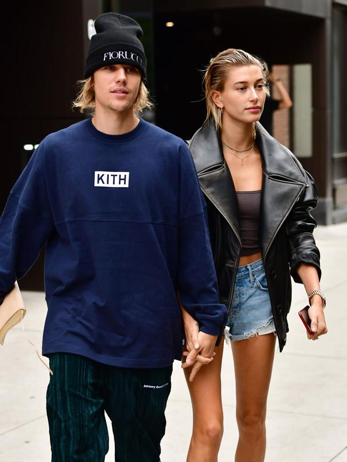 Justin Bieber and Hailey Baldwin at New York Fashion Week
