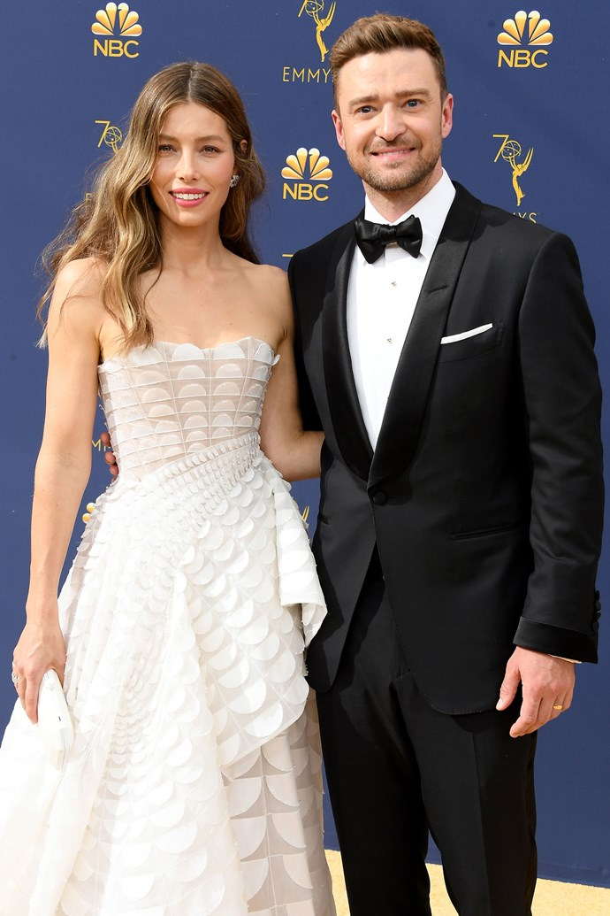 Jessica Biel and Justin Timberlake. <br><br> Biel brought husband Justin Timberlake along to this year's ceremony to support her in her first ever Emmy nomination. Contending for top prize in the 'Outstanding Lead Actress In A Limited Series Or Movie' for her role as Cora Tannetti in *The Sinner*, the Hollywood husband and wife didn't part from each other even for a second.