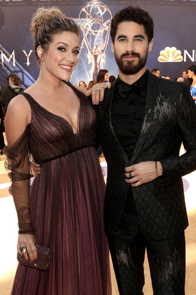 Darren Criss and Mia Swier. <br><br> Fellow Emmy victor, Darren Criss—who nabbed top prize in the 'Lead Actor In A Limited Series Or Movie' category—brought his fiancée Mia Swier along to share the special occasion.