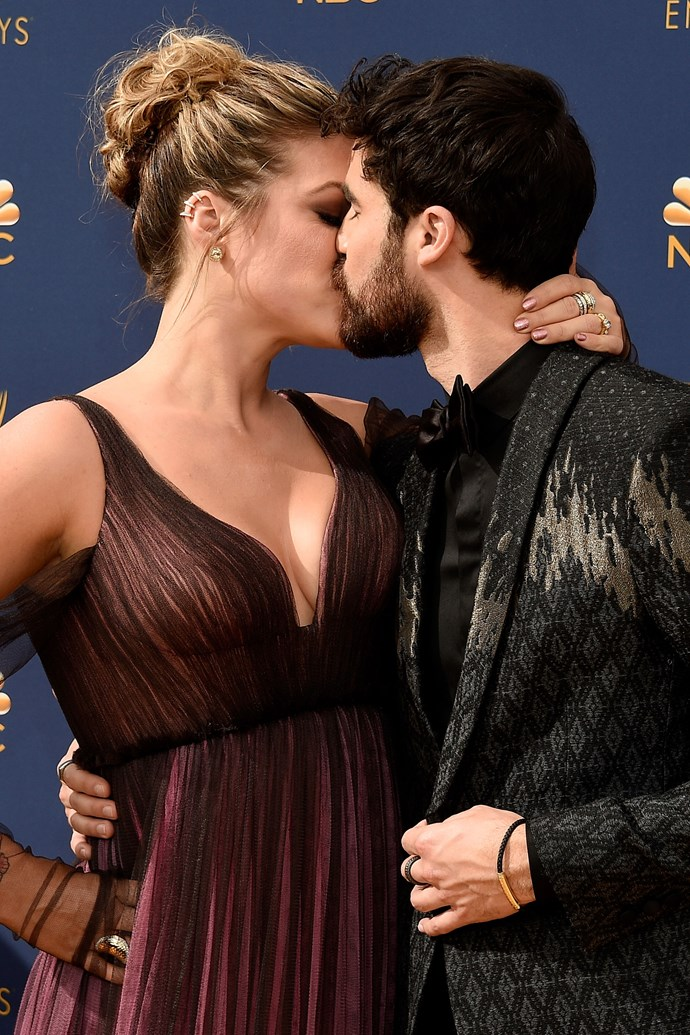 Darren Criss and Mia Swier. <br><br> Clearly still in the midst of post-engagement bliss, the couple's lips seemed to be locked for their entire journey down the red carpet.