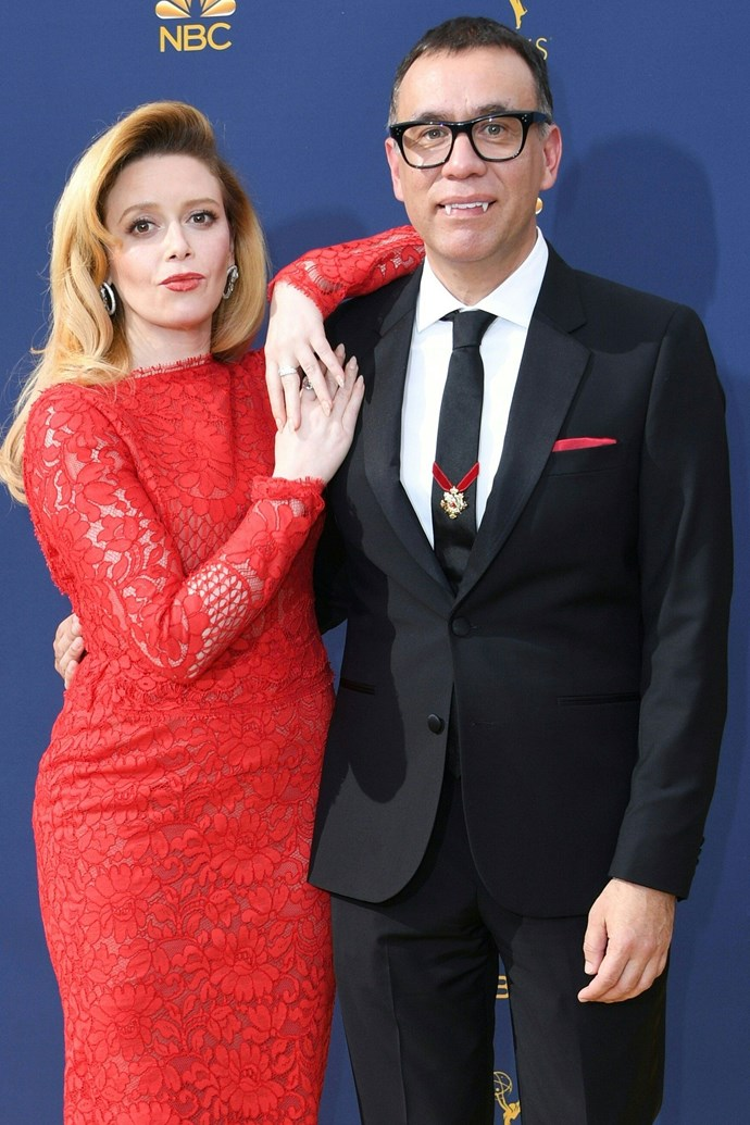Natasha Lyonne and Fred Armissen. <br><br> While neither Lyonne or Armisen are nominated for an Emmy this year, it didn't stop the clearly comedic pair from poking fun at photographers in unison with fake vampire teeth and dramatic poses.