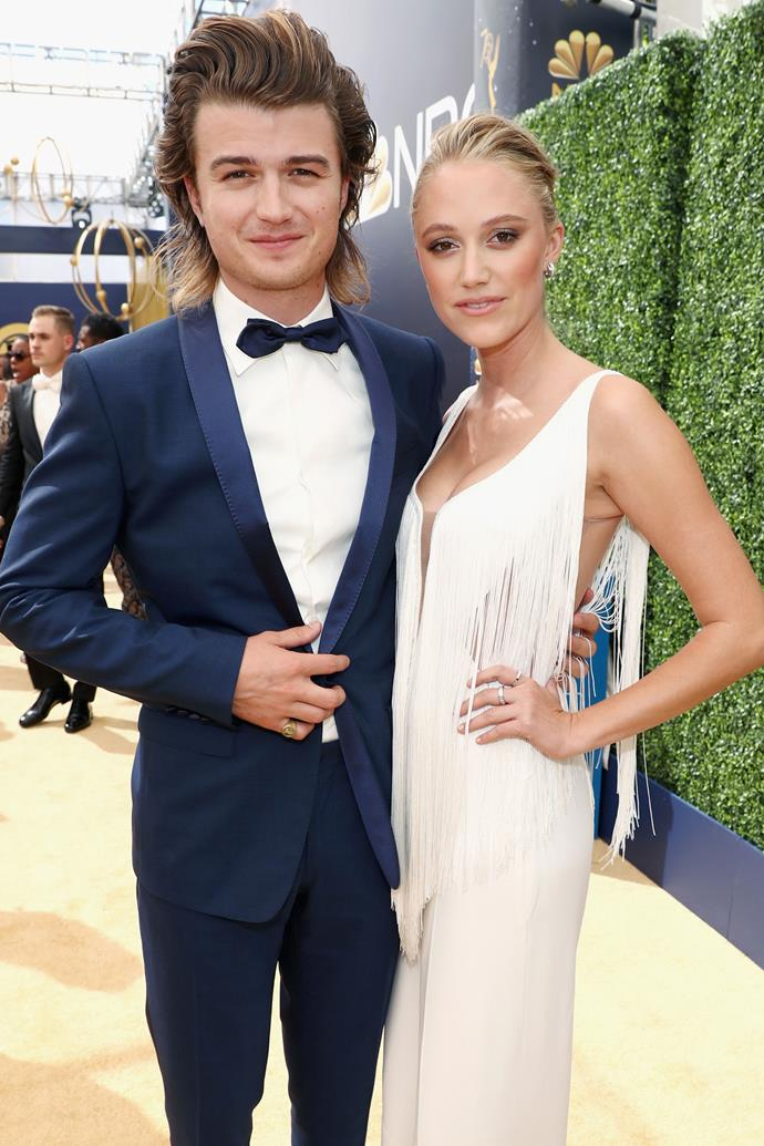 Joe Keery and Maika Monroe. <br><br> The *Stranger Things* actor and his girlfriend, actress Maika Monroe, stepped out on the red carpet looking every bit the dapper pair that they are. Nominated for five awards as part of the cast of the Netflix series, Keery kept his arms firmly on Monroe in the lead up to the show and his potential win.