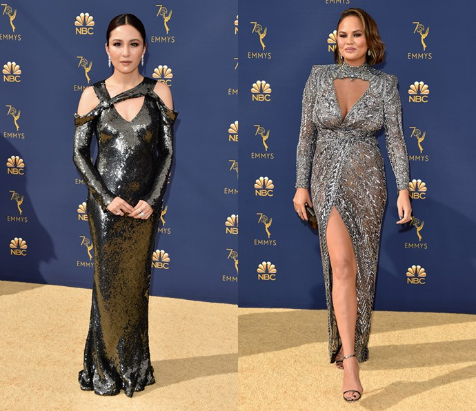 Metallic silver dress with long sleeves and chest cut-out<br><br> *Constance Wu and Chrissy Teigen.*