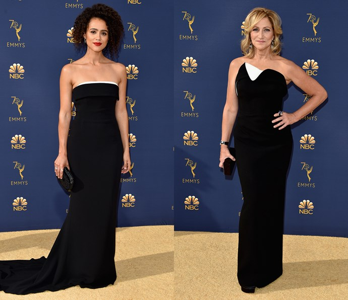 Black column gown with white bust detail<br><br> *Nathalie Emmanuel and Edie Falco.*